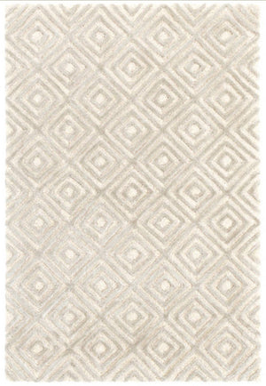 Dash and Albert Cut Diamond Silver Tufted Wool/Viscose Rug