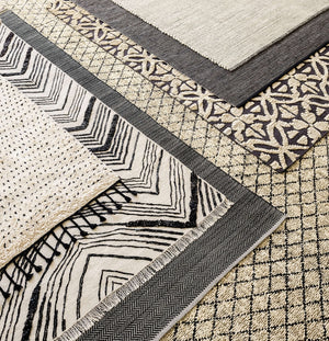 Dash and Albert Herringbone Black Woven Cotton Rug