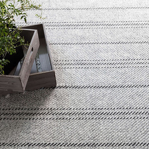 Dash and Albert Melange Stripe Grey/Black Indoor/Outdoor Rug - Lavender Fields