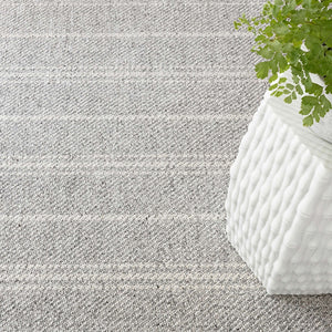 Dash and Albert Melange Stripe Grey/Ivory Indoor/Outdoor Rug