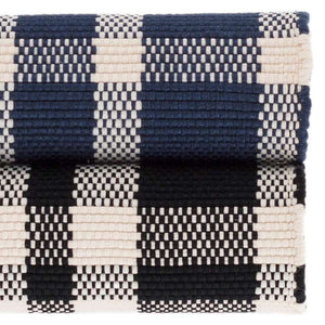 Dash and Albert Tattersall Indigo Indoor/Outdoor Rug