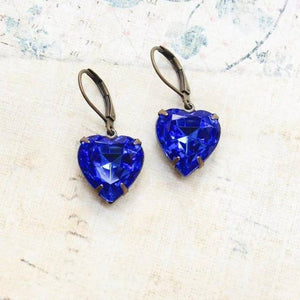 Dark Blue Heart Earrings - Vintage Glass Jewel - Lavender Fields