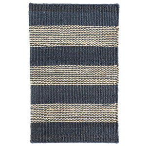 Dash and Albert Denim Ticking Woven Jute Rug - Lavender Fields