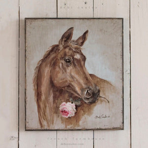 Barnwood Framed/Printed on Wood French Farmhouse Horse with Rose by Debi Coules