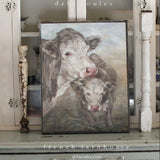 """Moo Daze"" Cow Barnwood Framed/Printed on Wood Rustic Farmhouse by Debi Coules - Lavender Fields"