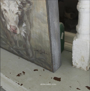 """Moo Daze""Cow Barnwood Framed/Printed on Wood Rustic Farmhouse by Debi Coules"