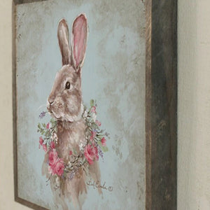 French Farmhouse Bunny with Rose Wreath