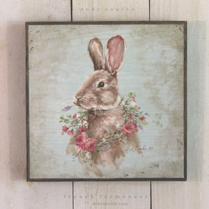 French Farmhouse Bunny with Rose Wreath - Lavender Fields