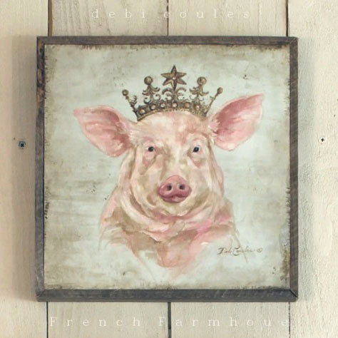 Barnwood Framed/Printed on Wood French Farmhouse Crowned Pig