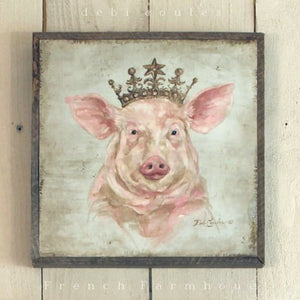 Barnwood Framed/Printed on Wood French Farmhouse Crowned Pig - Lavender Fields