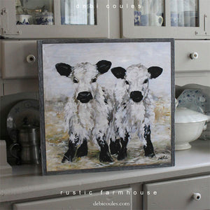 """Freckles and Speckles"" Cow Barnwood Framed/Printed on Wood Rustic Farmhouse Print by Debi Coules - Lavender Fields"