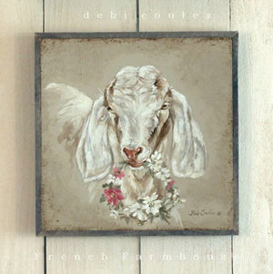 Barnwood Framed/Printed on Wood French Farmhouse Goat with Floral Wreath