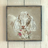 Barnwood Framed/Printed on Wood French Farmhouse Goat with Floral Wreath - Lavender Fields