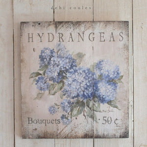 Romantic Shabby Cottage Chic Wooden Hydrangeas Sign by Debi Coules - Lavender Fields