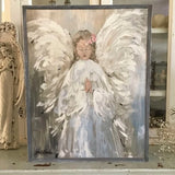"""My Angel "" Original Print on Wood and Barn Wood Framed by Debi Coules - Lavender Fields"