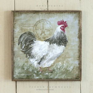 Barnwood Framed/Printed on Wood French Farmhouse Rooster 2 with Paris Eiffel Postmark by Debi Coules