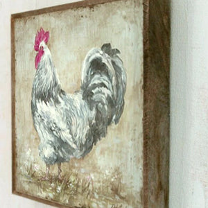 Barnwood Framed/Printed on Wood French Farmhouse Rooster by Debi Coules - Lavender Fields