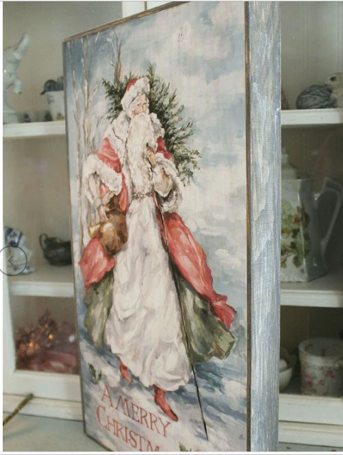 North Woods Shabby Chic Vintage Style Santa by Debi Coules - Lavender Fields