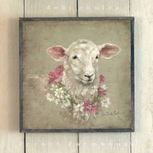 Barnwood Framed/Printed on Wood French Farmhouse Sheep with Floral Wreath - Lavender Fields