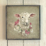 Barnwood Framed/Printed on Wood French Farmhouse Sheep with Floral Wreath