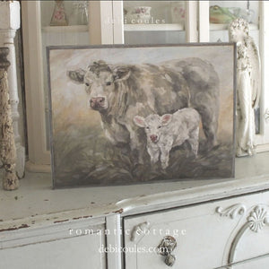 """Sweet Pea"" Cow Barnwood Framed/Printed on Wood Rustic Farmhouse by Debi Coules - Lavender Fields"