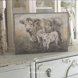 """Sweet Pea"" Cow Barnwood Framed/Printed on Wood Rustic Farmhouse by Debi Coules"