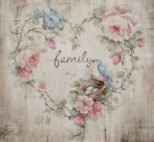 """Family"" Bluebird and Roses Heart Sign Printed on Wood by Debi Coules - Lavender Fields"