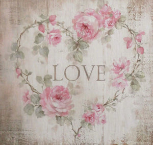 """Love"" Roses Heart Sign Printed on Wood by Debi Coules - Lavender Fields"