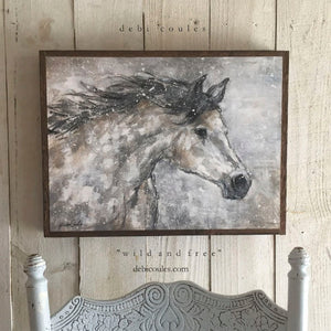 "Rustic Farmhouse Wood Framed ""Wild and Free"" Print on Wood by Debi Coules"