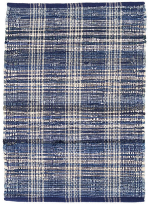 Dash and Albert Denim Plaid Woven Cotton Rug - Lavender Fields