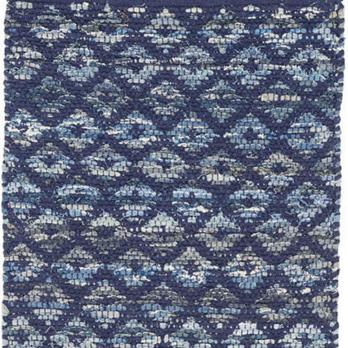 Dash and Albert Denim Rag Diamond Indigo Woven Cotton Rug