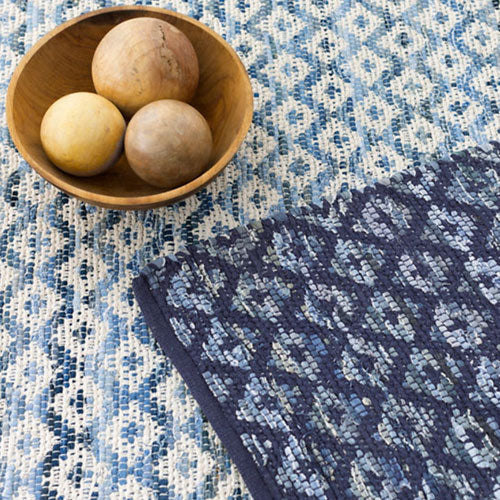 Dash and Albert Denim Rag Diamond Indigo Woven Cotton Rug - Lavender Fields