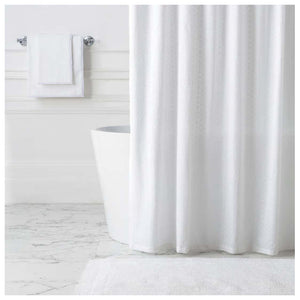 Pine Cone Hill Diamond Eyelet White Shower Curtain