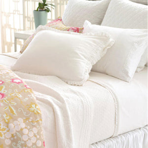 Pine Cone Hill Diamond White Matelasse Coverlet - Lavender Fields