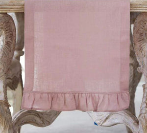 Dusty Pink Ruffle Linen Table Runner - Lavender Fields