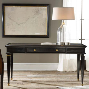 Modern History Ebonized Classical Writing Table - Lavender Fields