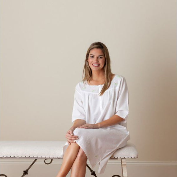 Jacaranda Living Isabelle White Cotton Nightgown, Embroidered - Lavender Fields