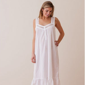 Jacaranda Living Courtney White Cotton Nightgown - Lavender Fields