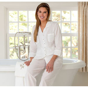 Jacaranda Living Lori Jayne White Cotton Pajamas - Lavender Fields