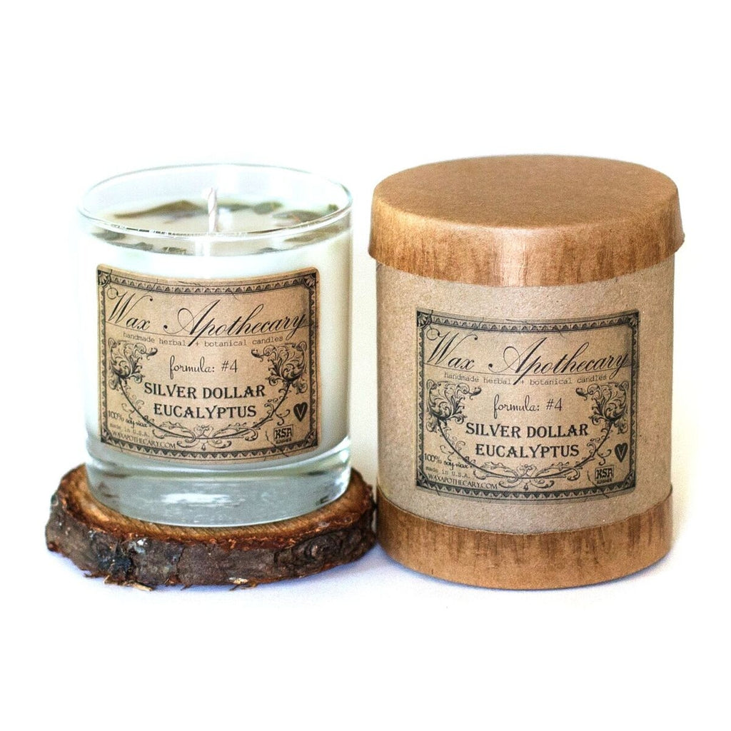 Silver-Dollar Eucalyptus Botanical Candle Scotch Glass 7oz - Lavender Fields