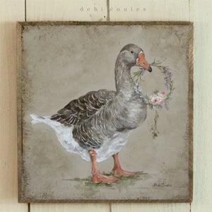 Barnwood Framed/Printed on Wood French Farmhouse Goose with Roses and Lavender Wreath by Debi Coules