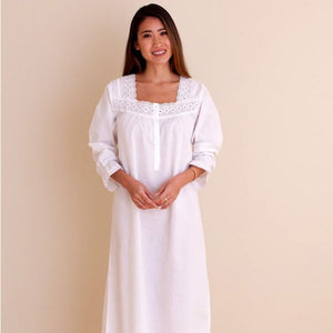 Jacaranda Living Susan White Cotton Nightgown, Embroidered - Lavender Fields