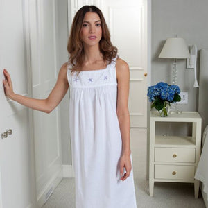 Jacaranda Living Starfish White Cotton Nightgown, Embroidered - Lavender Fields