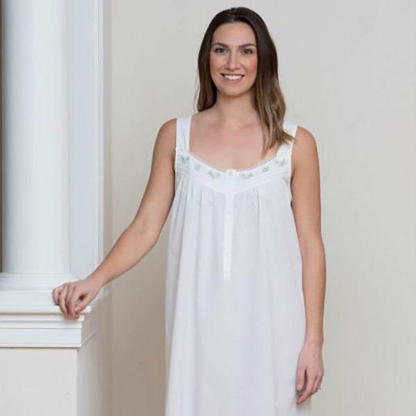 Jacaranda Living Heather White Cotton Nightgown - Lavender Fields