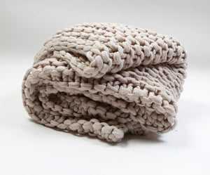 Pom Pom at Home Finn Taupe Throw - Lavender Fields