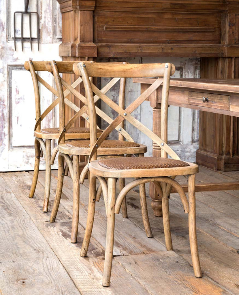 French Farmhouse Wooden Cross Back Chair Set of 4 - Lavender Fields