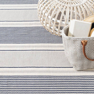 Dash and Albert Gunner Stripe Woven Cotton Rug - Lavender Fields