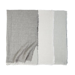 Pom Pom at Home Hermosa Light Grey/Cream Oversized Throw - Lavender Fields