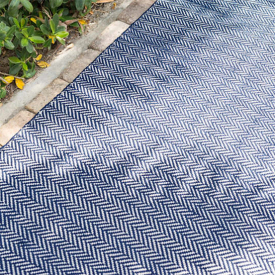 Dash and Albert Herringbone Indigo Indoor/Outdoor Rug - Lavender Fields