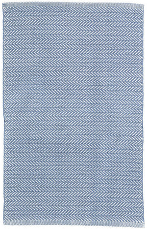 Dash and Albert Herringbone Denim/Ivory Indoor/Outdoor Rug - Lavender Fields